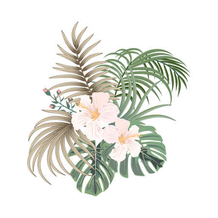 Vector tropical bouquet of palm tree leaves and flowers isolated on white background. Hawaiian style floral arrangement for design banners, posters, wallpaper, fashion pattern, invitation, wedding or greeting cards. 矢量图像