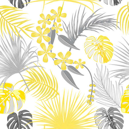 Seamless pattern of ultimate gray tropical leaves of palm tree and illuminating yellow flowers. Botany light vector background, jungle wallpaper.