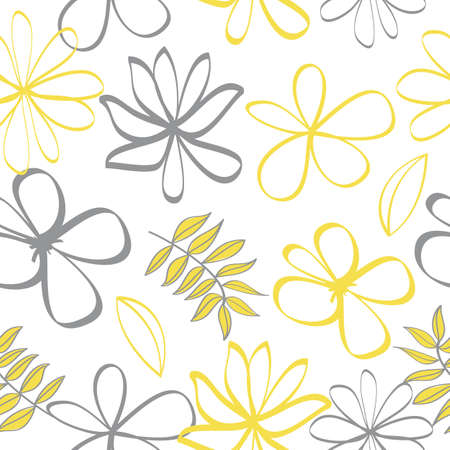 Seamless pattern of ultimate gray and illuminating yellow flowers. Botany light vector background, jungle wallpaper.