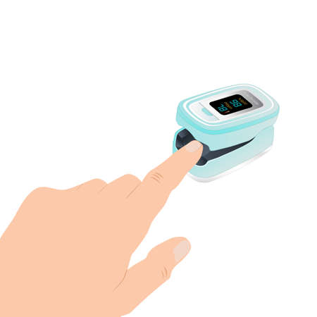 Pulse Oximeter on finger. Blood Oxygen Saturation Level Monitor with Heart Rate Detection, medical device icon, isolated on white background. Health care icon for blood saturation test. Vector illustration.