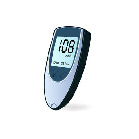 Diabetes check machine with digital screen, device for measuring blood sugar, glucometer flat icon isolated. Vector illustration of medical device for blood glucose levels test. Diagnostic equipment, control diabetes, measuring sugar.