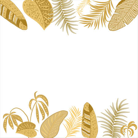 Tropical floral frame template, border of jungle palm leaves and flowers for postcard, wedding invitation, social networks, greeting card with place for text, vector background