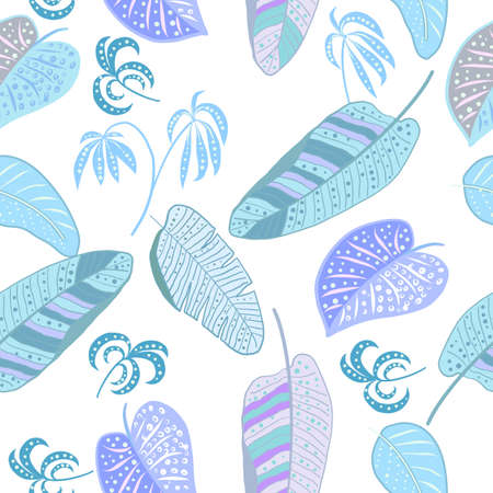 Tropical vector seamless pattern with leaves of palm tree and flowers. Botany light background, jungle wallpaper. 矢量图像