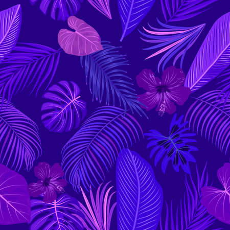 Seamless pattern of violet and purple tropical leaves, monstera, flowers, jungle leaves of palm tree, vector background. 矢量图像