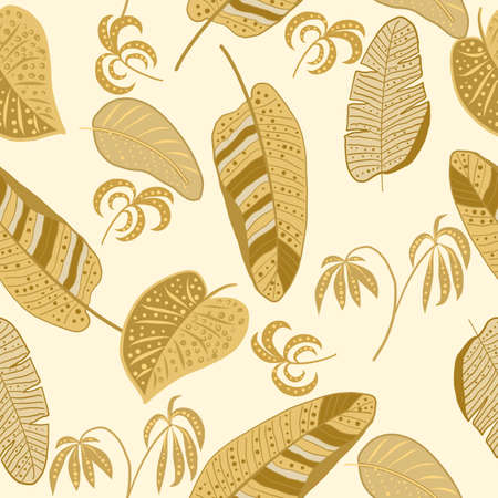 Tropical vector seamless pattern with gold leaves of palm tree and flowers. Botany light background, jungle wallpaper. 矢量图像