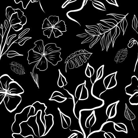 Seamless pattern of black and white hand draw tropical leaves of palm tree and flowers. Botany vector background, jungle wallpaper.
