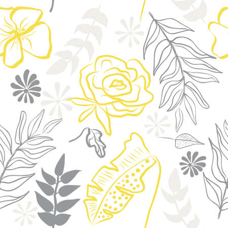 Seamless pattern of ultimate gray hand draw tropical leaves of palm tree and illuminating yellow flowers. Botany light vector background, jungle wallpaper.