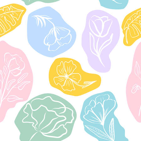 Vector seamless pattern of hand draw tropical leaves and flowers. Botany light background, jungle wallpaper. 矢量图像