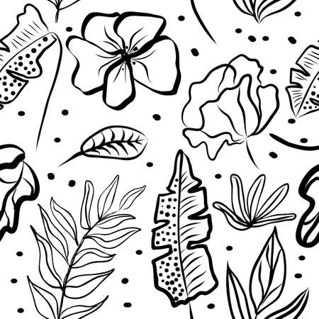 Seamless pattern of black and white hand draw tropical leaves of palm tree and flowers. Botany light vector background, jungle wallpaper.
