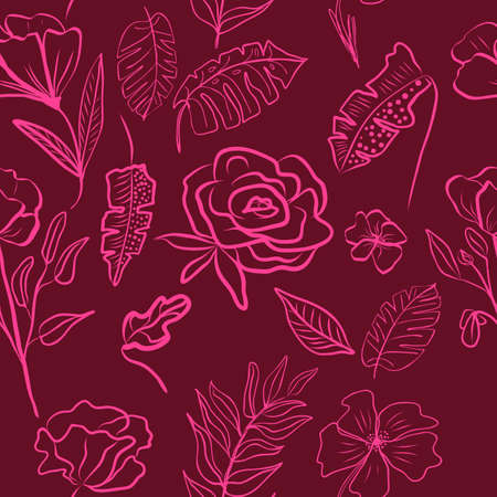 Vector seamless pattern of hand draw flower outline fuchsia color and tropical leaves. Botany maroon background, jungle wallpaper.