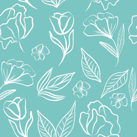 Seamless pattern of white hand draw tropical leaves and flowers. Botany light vector background, jungle wallpaper.