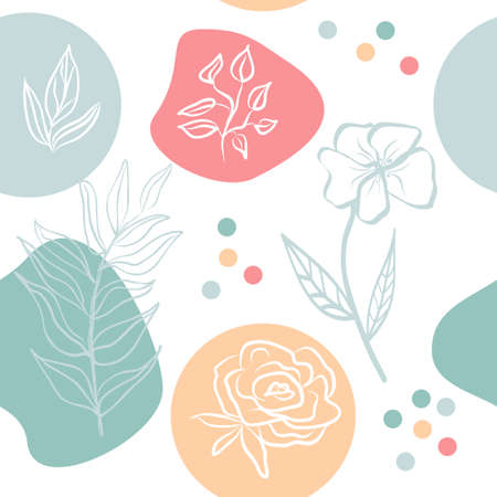 Vector seamless pattern of abstract flower. Hand drawn shapes and line-art. Contour drawing, botanical element.