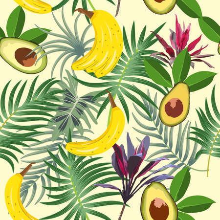 Seamless pattern with tropical leaves of palm tree, avocado, banana and flowers. Botany vector background, jungle wallpaper.