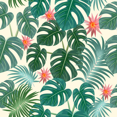 Seamless pattern with tropical leaves of palm tree, monstera and flowers. Botany vector background, jungle wallpaper.