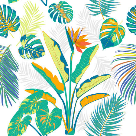 Vector tropical seamless pattern with colorful leaves of palm tree and flowers. Botany light background, jungle wallpaper.