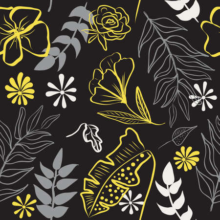 Seamless pattern of ultimate gray hand draw tropical leaves of palm tree and illuminating yellow flowers. Botany vector background, jungle wallpaper. 矢量图像