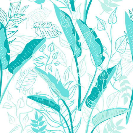 Seamless pattern of blue hand draw tropical leaves of palm tree and bananas. Vector background, jungle wallpaper.