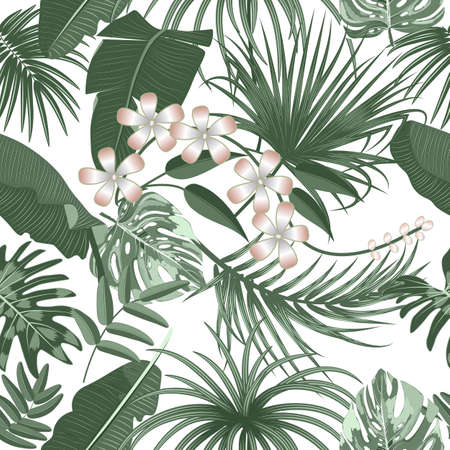 Vector tropical seamless pattern with leaves of palm tree and flowers. Botany light background, jungle wallpaper.