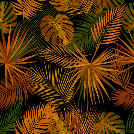 Seamless pattern with tropical leaves of palm tree. Botany vector background, jungle wallpaper.