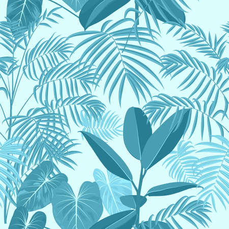 Vector tropical jungle seamless pattern with palm trees leaves and ficus, blue background for wedding, quotes, Birthday and invitation cards, greeting cards, print, blogs, bridal cards.