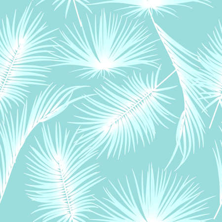 Blue seamless pattern with tropical leaves of palm tree. Botany vector background, jungle wallpaper.