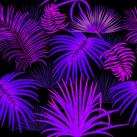 Neon blue and purple seamless pattern with tropical leaves of palm tree. Botany vector background, jungle wallpaper.