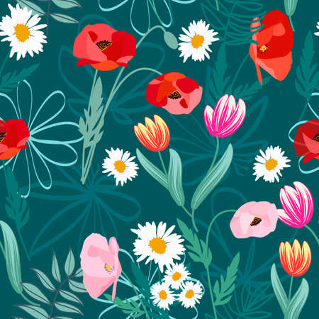 Seamless pattern of poppy, tulip and daisies flowers on dark background for textile, wallpaper, vector illustration.