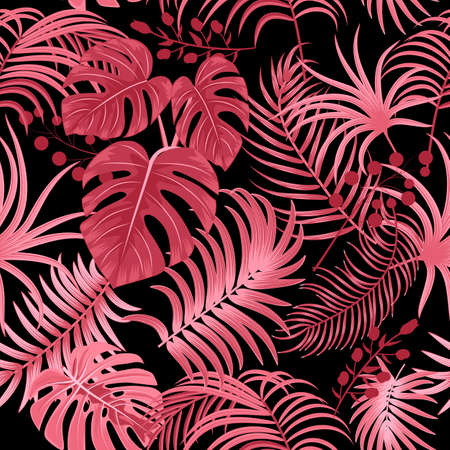 Tropical vector seamless pattern with leaves of palm tree and flowers. Floral background, jungle wallpaper.