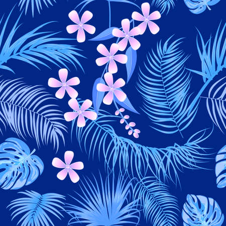 Blue vector tropical seamless pattern with leaves of palm tree and flowers. Jungle background, wallpaper. 矢量图像