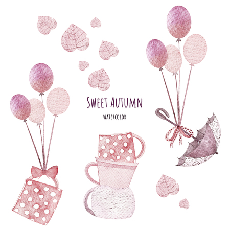 Sweet autumn set. Watercolor elements. Autumn set included balloons, sweet cups, umbrella, pink leaves. Perfect for you postcard design, invitations, projects, wedding card, poster. Banco de Imagens