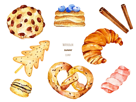 Watercolor yummy elements. Included biscuit, croissant, bretzel, macaron, pancakes, cinnamon and candy. Perfect for you postcard design, invitations, projects, wedding card, poster, packaging.