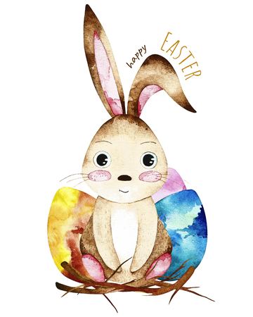 Watercolor easter postcard. Card with colorful eggs and easter bunny. Perfect for you postcard design, invitations, projects, wedding card, poster, packaging.
