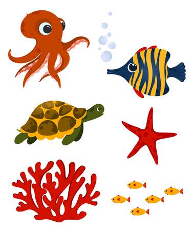 Éléments de la vie sous-marine. Animaux océaniques et coraux mignons. Utilisation pour carte postale, impression, emballage, etc. Banque d'images