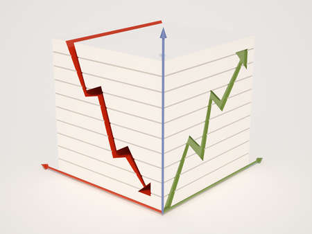 Three-dimensional illustration of the financial schedule. Displays the rise and fall of course. Stock Illustration - 11938688