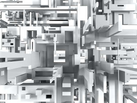 constructivism: 3D geometric abstract background with white parallelepipeds. 3D visualization.