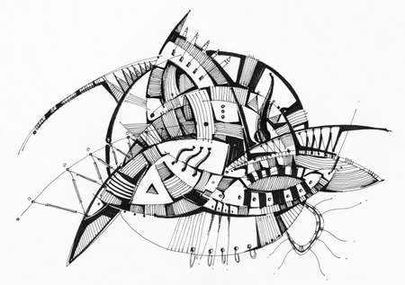 Abstract geometric drawing pen on white paper. Stock Photo - 12359049