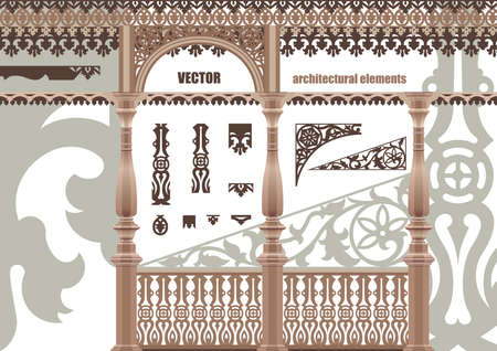 architectural elements: Vector tallado elementos arquitect�nicos. Elementos de encaje en el estilo de contorno.