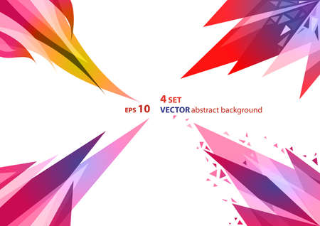 4 sets of abstract geometric background. Colored intersecting triangles, stylized flame of fire.  Vector