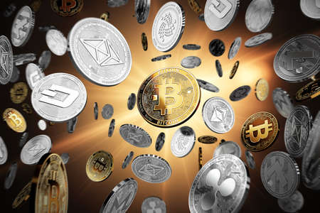 Flying altcoins with Bitcoin in the center as the leader. Bitcoin as most important cryptocurrency concept. 3D illustration Reklamní fotografie - 90087395