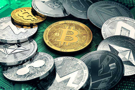 Huge stack of cryptocurrencies in a circle with a golden bitcoin in the middle. Bitcoin as most important cryptocurrency concept. 3D illustration Stock Photo