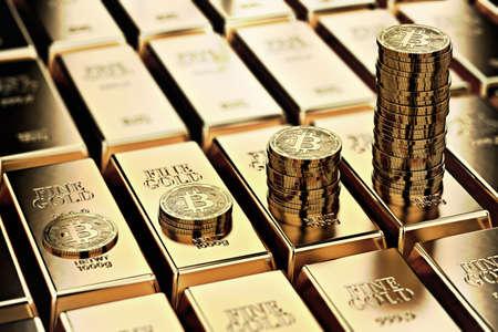 Mucchi di bitcoin su file di lingotti d'oro (lingotti d'oro). Il bitcoin continua a crescere ed è tanto desiderabile quanto il concetto d'oro. Rendering 3D