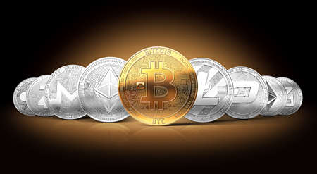 Set of cryptocurrencies with a golden bitcoin on the front as the leader. Bitcoin as most important cryptocurrency concept.