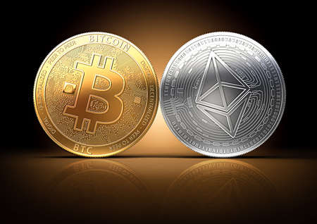 Bitcoin and Ethereum fights for the leadership on a gently lit dark background. Competing cryptocurrencies concept.
