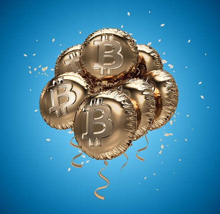 ironic: Shiny golden Bitcoin shaped Balloons with confetti. Bitcoin celebrating growth. 3D rendering Stock Photo