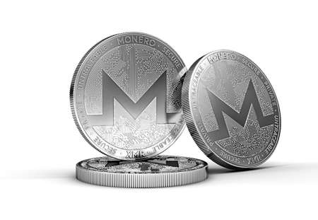 Three Monero (XMR) cryptocurrency physical concept coin isolated on white background. 3D rendering