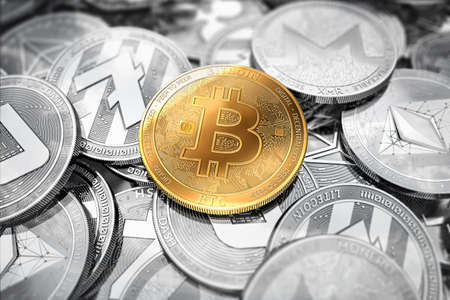 Huge stack of cryptocurrencies with a golden bitcoin on the front as the leader. Bitcoin as most important cryptocurrency concept.