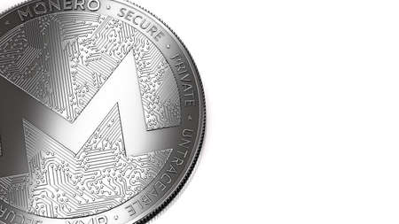 Macro shot of Monero (XMR) coin and copy space on the right where you can place your text or chart. Isolated on white. 3D rendering Stock Photo