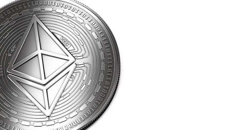 Macro shot of silver Ethereum (ETH) and copy space on the right where you can place your text or chart. Isolated on white. 3D rendering Stock Photo