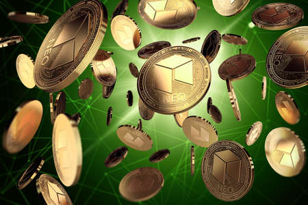 NEO coins coins among blockchain nodes. Success and growth concept. Perfect for covers, posters, banners and other advertising projects. 3D rendering