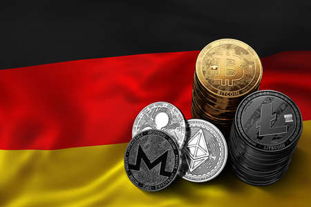 Stack of Bitcoin coins on German flag. Situation of Bitcoin and other cryptocurrencies in Germany concept. 3D Rendering Фото со стока